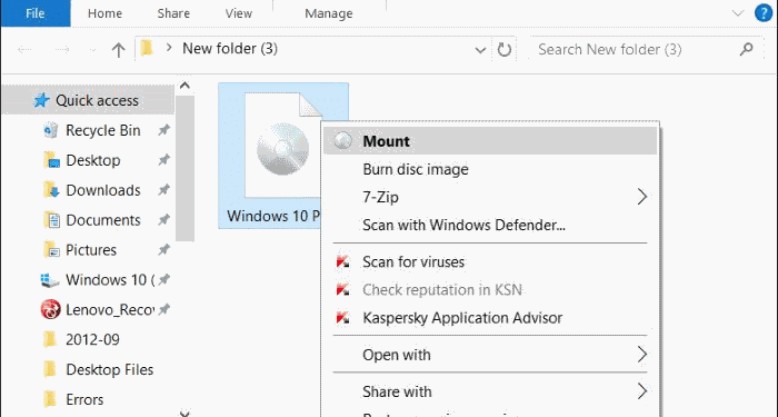 windows 10 can't mount iso