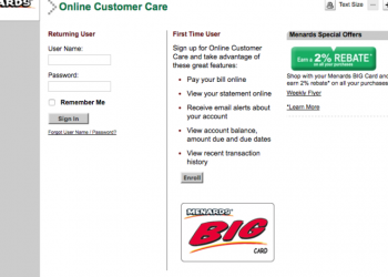 Menards Big Card Login Procedure & How To Pay Online Bills